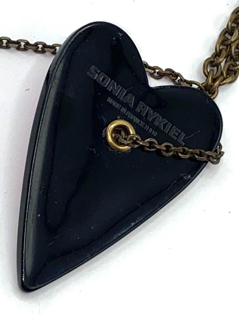 Sonya Rykiel Heart & Swallow Pendant Necklace, 1990s For Sale 8