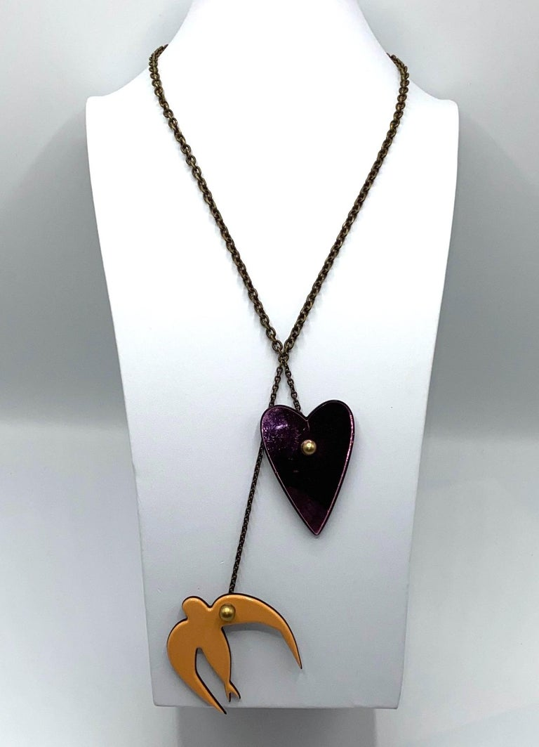 Sonya Rykiel Heart & Swallow Pendant Necklace, 1990s In Good Condition For Sale In New York, NY