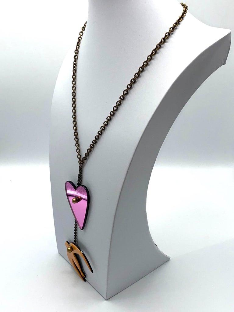Women's Sonya Rykiel Heart & Swallow Pendant Necklace, 1990s For Sale