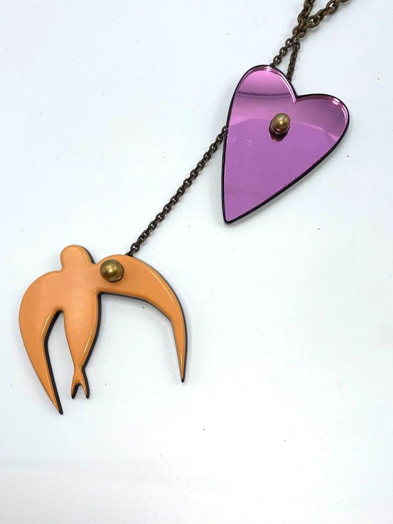 Sonya Rykiel Heart & Swallow Pendant Necklace, 1990s For Sale 1