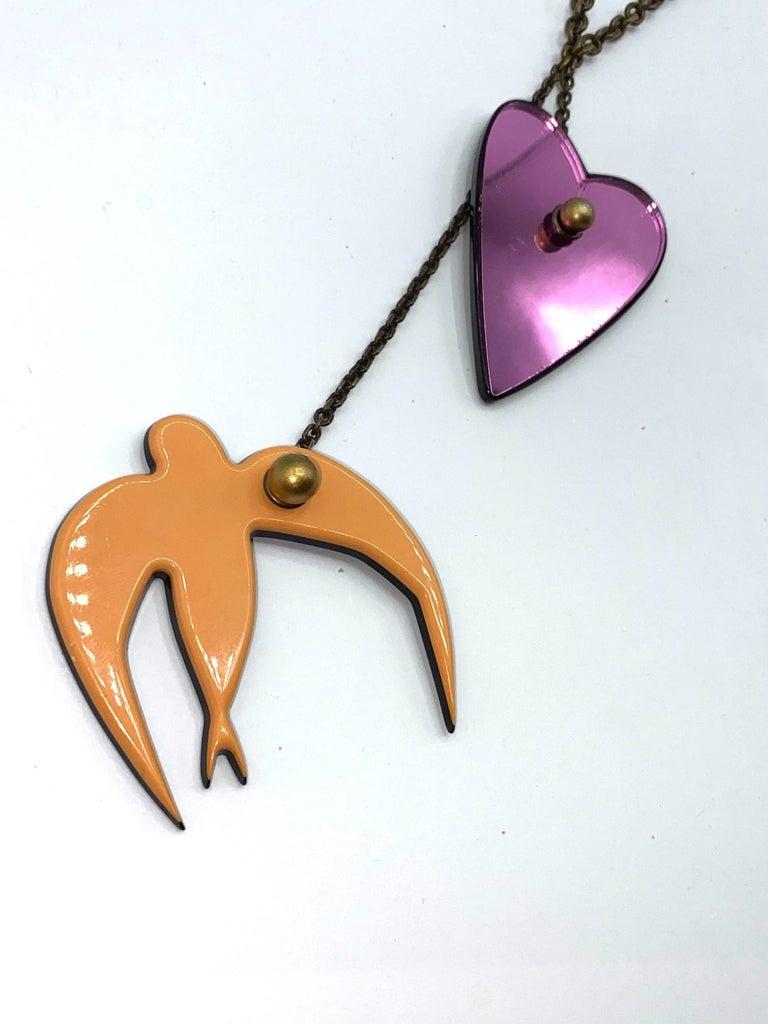 Sonya Rykiel Heart & Swallow Pendant Necklace, 1990s For Sale 2