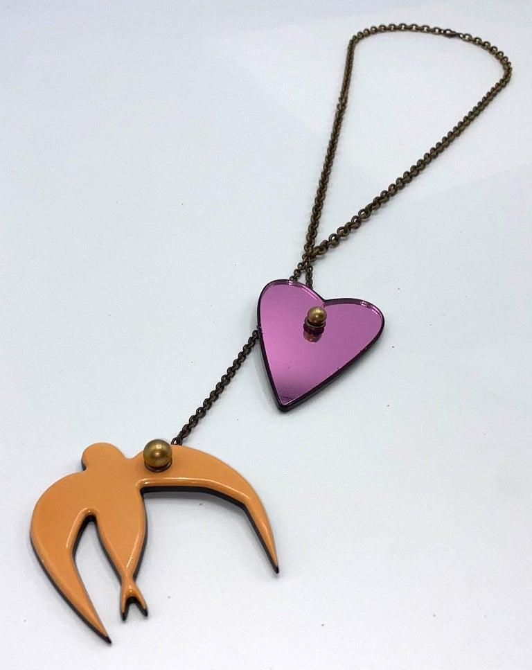 Sonya Rykiel Heart & Swallow Pendant Necklace, 1990s For Sale 3