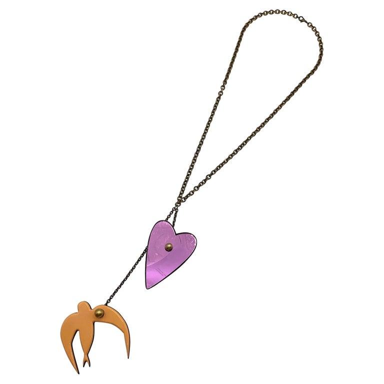 Sonya Rykiel Heart & Swallow Pendant Necklace, 1990s For Sale