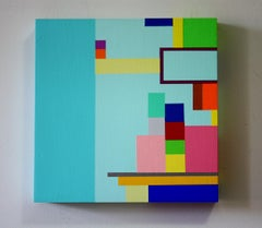 Untitled 08-1, bright abstract geometric painting on wood panel
