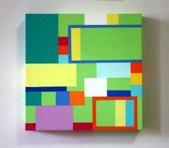 Untitled 08-2, bright abstract geometric painting on wood panel