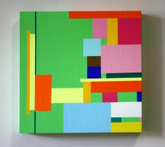 Untitled 08-3, bright abstract geometric painting on wood panel
