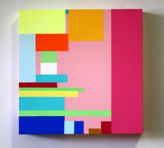 Untitled 08-4, bright abstract geometric painting on wood panel