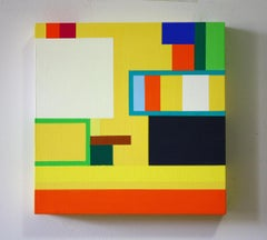Untitled 09-1, bright abstract geometric painting on wood panel