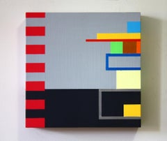 Untitled 09-2, bright abstract geometric painting on wood panel