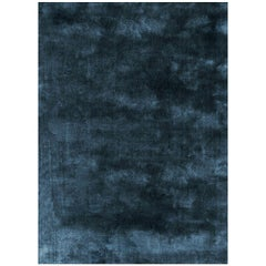 Soothing Hues Customizable Pallas Weave Rug in Petrol Small