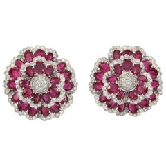 Sophia B. Ruby Diamond Floral Ear Clips