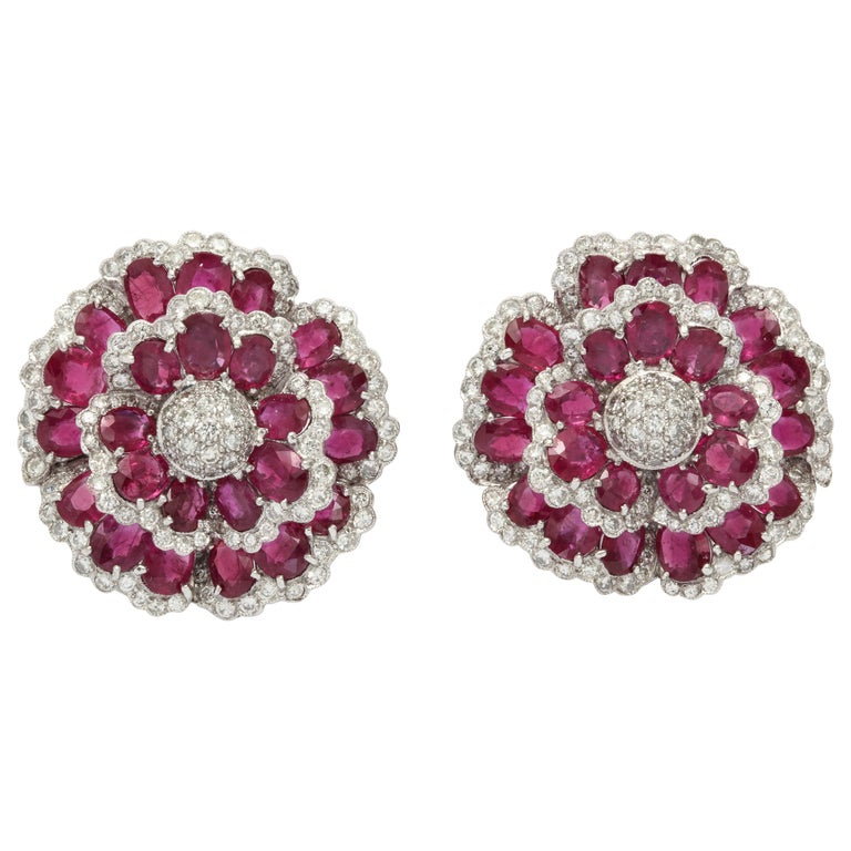 Sophia B. Ruby Diamond Floral Ear Clips For Sale