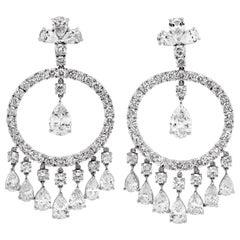 Sophia D 31.66 Carat Pear Shape Round Diamond Platinum Large Chandelier Earrings