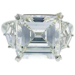 Sophia D Diamond Platinum Ring 5.08 Carat Square Emerald Cut GIA