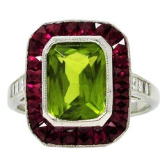 Sophia D. Rectangular Cut Peridot Cocktail Ring with Ruby and Diamond Accents