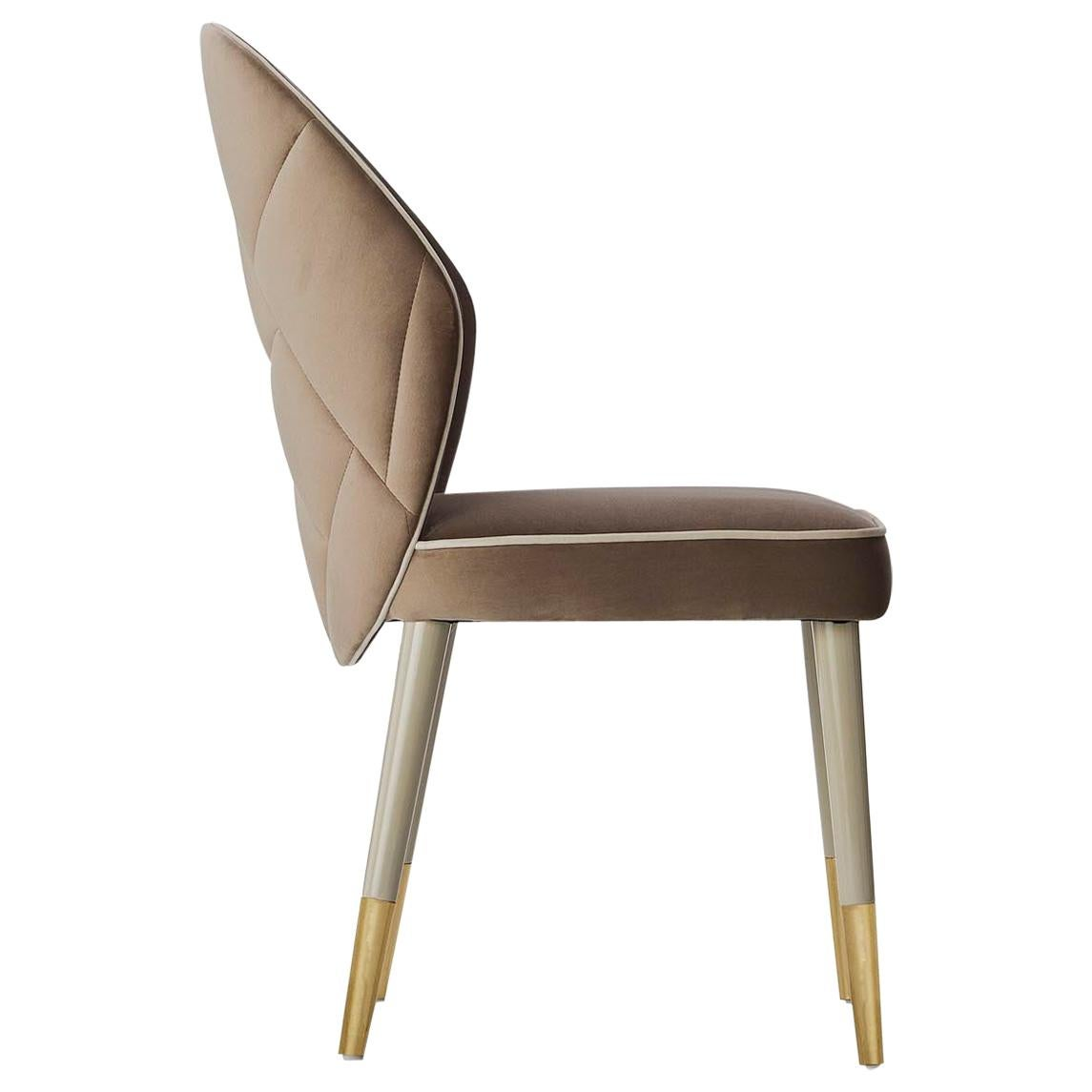 Sophia Dining Chair with Beautiful Back Details and Brushed Brass Tips