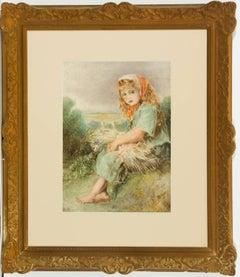 Sophia Fenn - c. 1878 English Watercolour, Portrait of a Peasant Girl