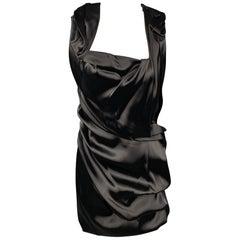 SOPHIA KOKOSALAKI Size 6 Black Nylon Blend Ruched Cocktail Dress