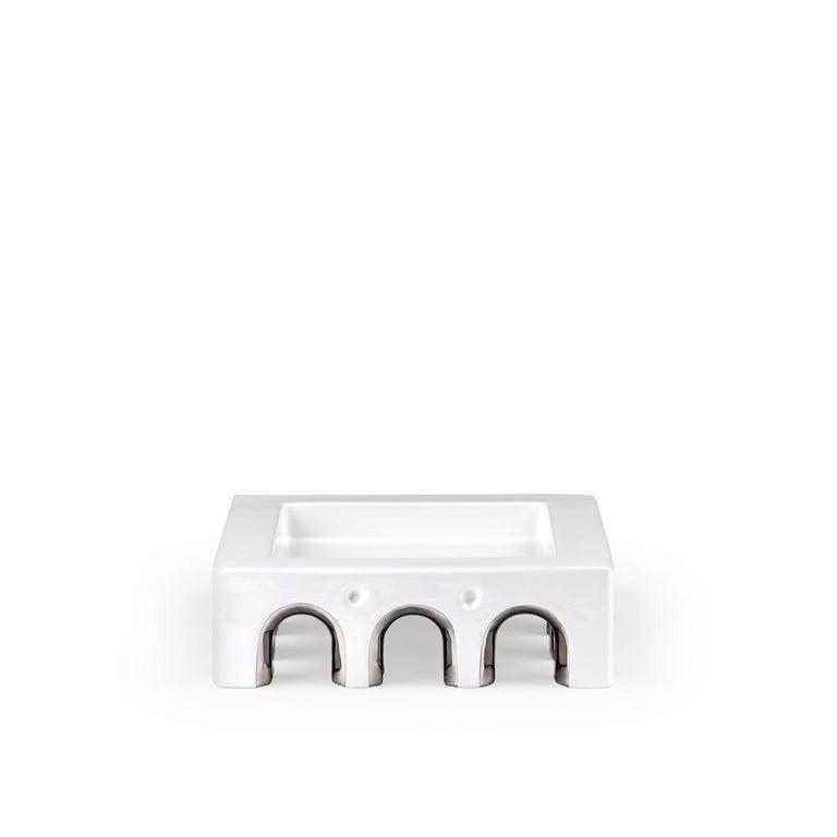 Italian Sophia Medium White Ceramic and Platinum Details Handcrafted Centerpiece For Sale