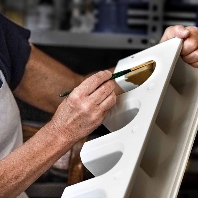 Contemporary Sophia Medium White Ceramic and Platinum Details Handcrafted Centerpiece For Sale