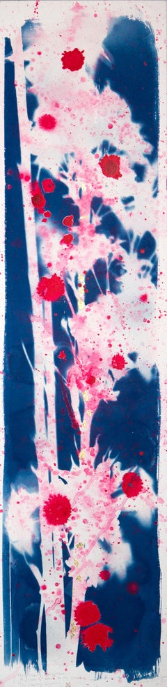 'The Cherry Blushes' Mixed Media Painting on board, abstract, sakura