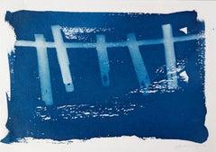 'Una Buena Mañana Para Lavar'.  Environmental rural domestic cyanotype painting
