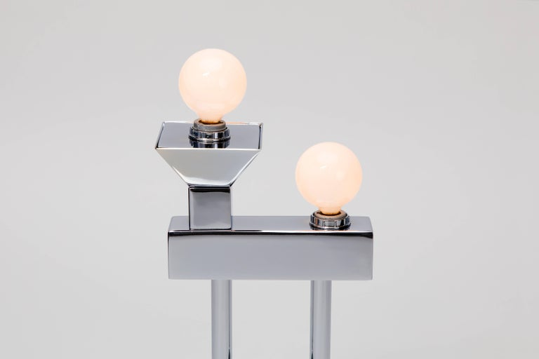 Sophia Table Lamp in Chrome by Another Human, Modern Sculptural Light For Sale 5
