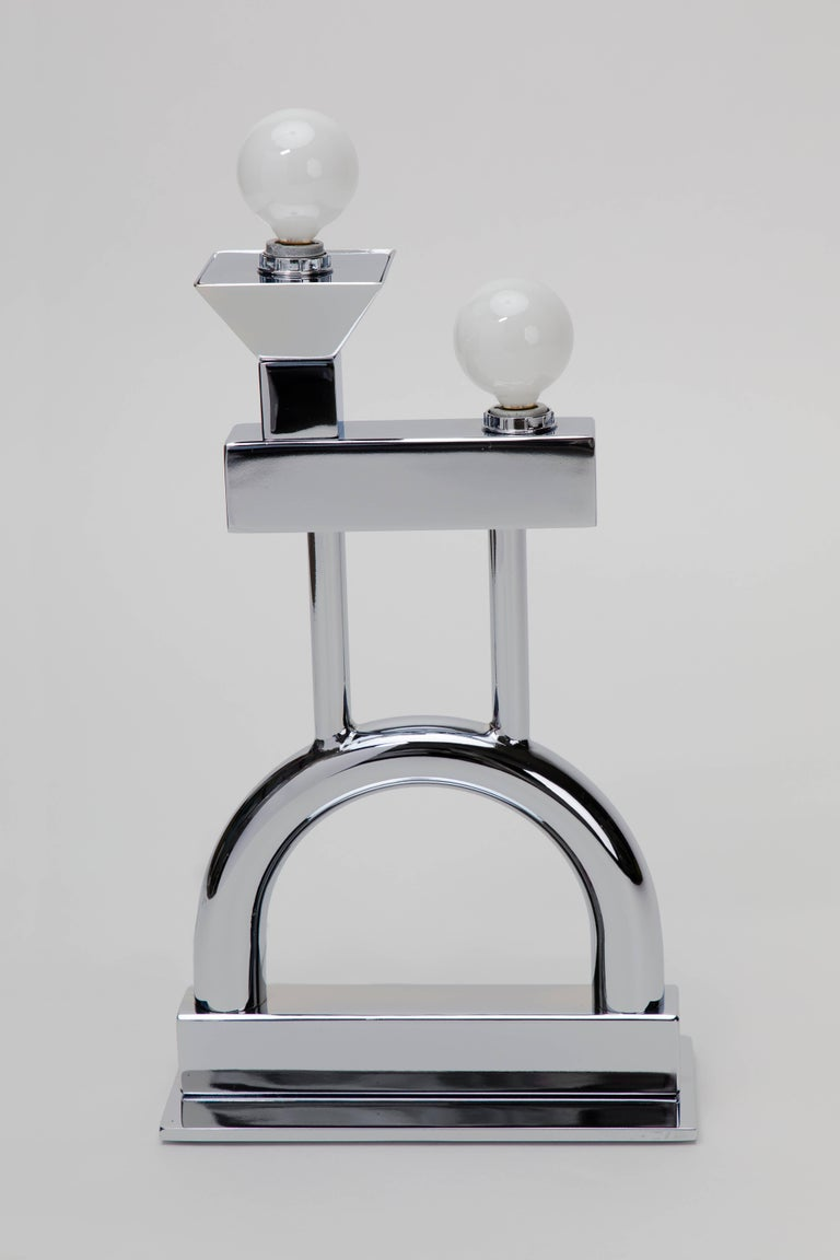 Sophia Table Lamp in Chrome by Another Human, Modern Sculptural Light For Sale 7