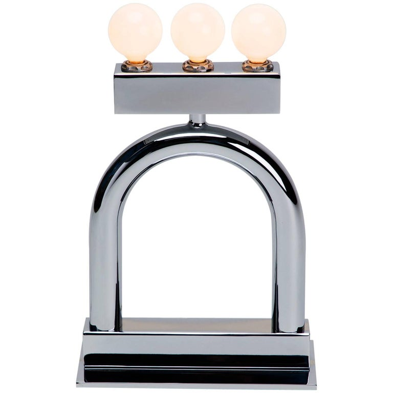 Sophia Table Lamp in Chrome by Another Human, Modern Sculptural Light For Sale