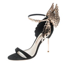 Sophia Webster Black Suede and Laser Cut Rose Gold Leather Evangeline Open Toe S