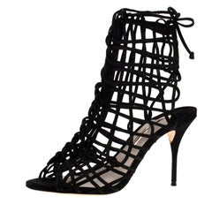 Sophia Webster Black Suede Delphine Peep Toe Cage Sandals Size 39.5