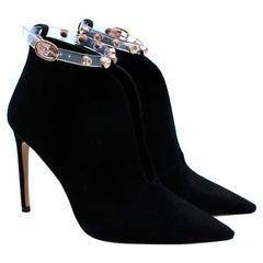 Sophia Webster Black Suede Embellished Plexi Strap Dina Ankle Boots - Size EU 39