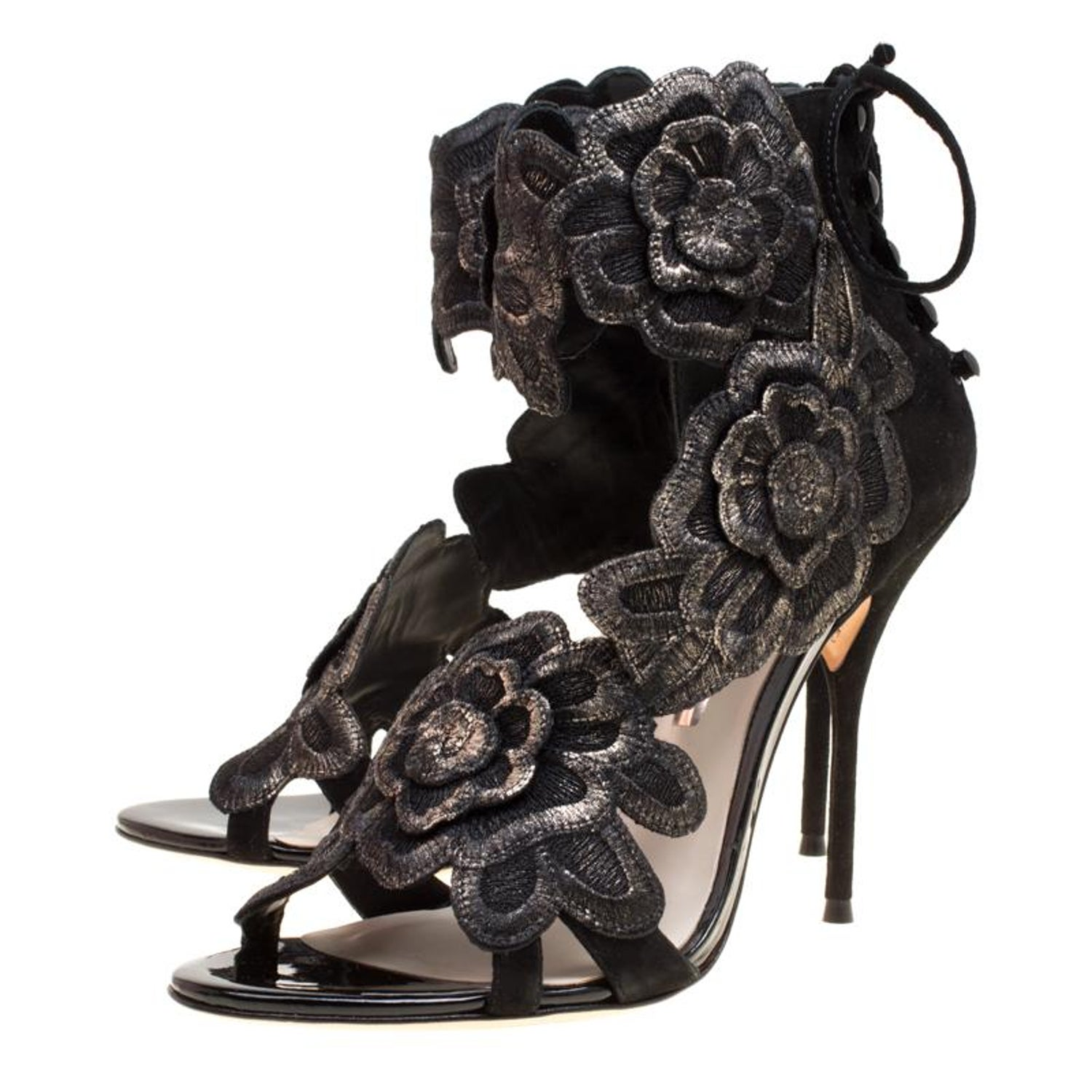 2b5a073575b3 Sophia Webster Black Suede Winona Floral Embroidered Ankle Cuff Sandals  Size 41 For Sale at 1stdibs