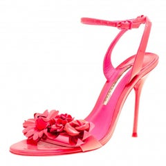 Sophia Webster Fluorescent Pink Patent Leather Lilico Floral Embellished Ankle W