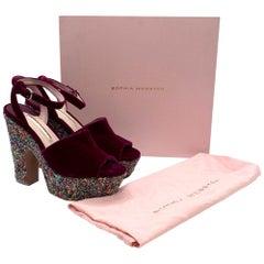 Sophia Webster Havisham Pink Velvet Wedge Platform Sandals 41
