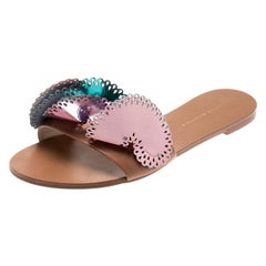 Sophia Webster Metallic Multicolor Laser Cut Leather Soleil Flat Slides Size 39