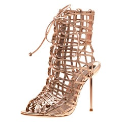 Sophia Webster Metallic Rose Gold Leather Delphine Peep Toe Sandals Size 35.5