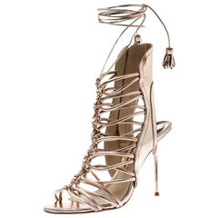 Sophia Webster Metallic Rose Gold Leather Lacey Tie Up Sandals Size 38