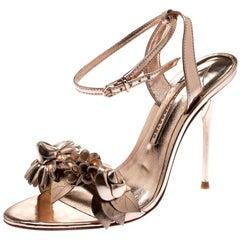 Sophia Webster Metallic Rose Gold Leather Lilico Floral Ankle Sandals Size  35.5