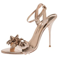 Sophia Webster Metallic Rose Gold Leather Lilico Floral Ankle Sandals Size 36.5