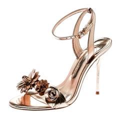 Sophia Webster Metallic Rose Gold Leather Lilico Floral Ankle Sandals Size 38.5