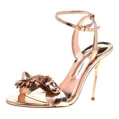 Sophia Webster Metallic Rose Gold Leather Lilico Floral Ankle Sandals Size 39.5