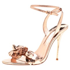 Sophia Webster Metallic Rose Gold Leather Lilico Floral Ankle Sandals Size 40