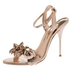 Sophia Webster Metallic Rose Gold Leather Lilico Floral Sandals Size 39