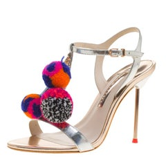 Sophia Webster Metallic Silver Leather   Embellished T-Strap Sandals Size 37.5