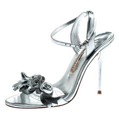 Sophia Webster Metallic Silver Leather Lilico Floral Ankle Sandals Size 37.5