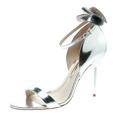 Sophia Webster Metallic Silver Leather Maya Crystal Bow Ankle Sandals Size 39