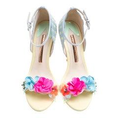 Sophia Webster Multicolor Leather Lilico Sequin Flower Embellished Ankle Strap O