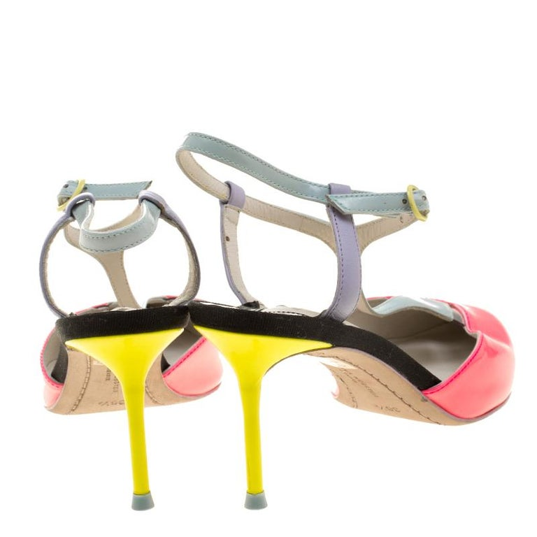 Beige Sophia Webster Multicolor Patent Leather T Straps Pointed Toe Sandals Size 36.5 For Sale