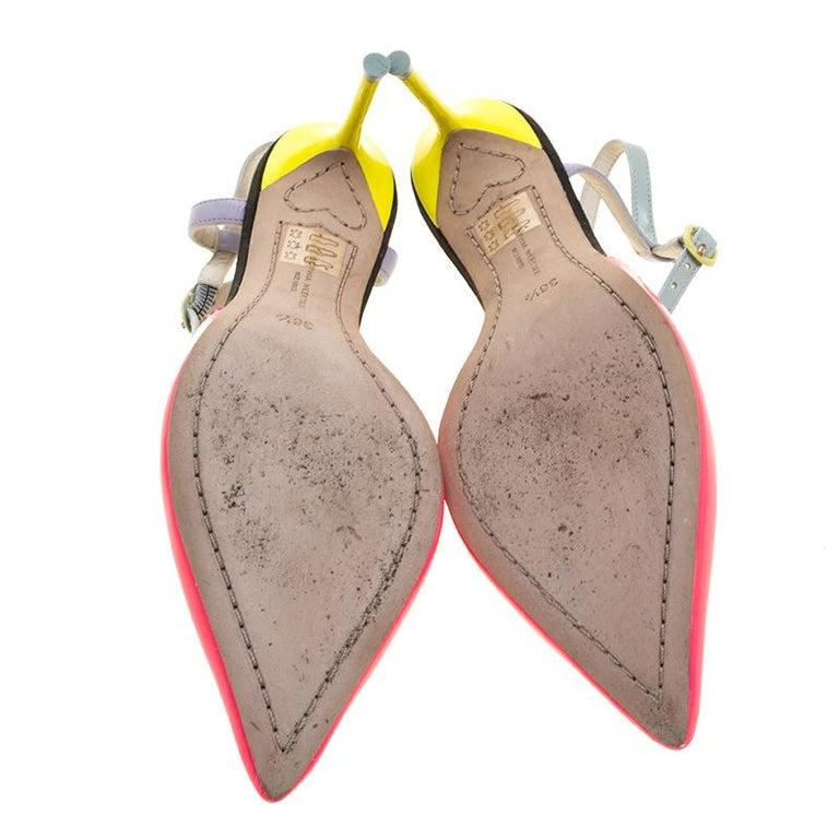 Sophia Webster Multicolor Patent Leather T Straps Pointed Toe Sandals Size 36.5 In Good Condition For Sale In Dubai, Al Qouz 2